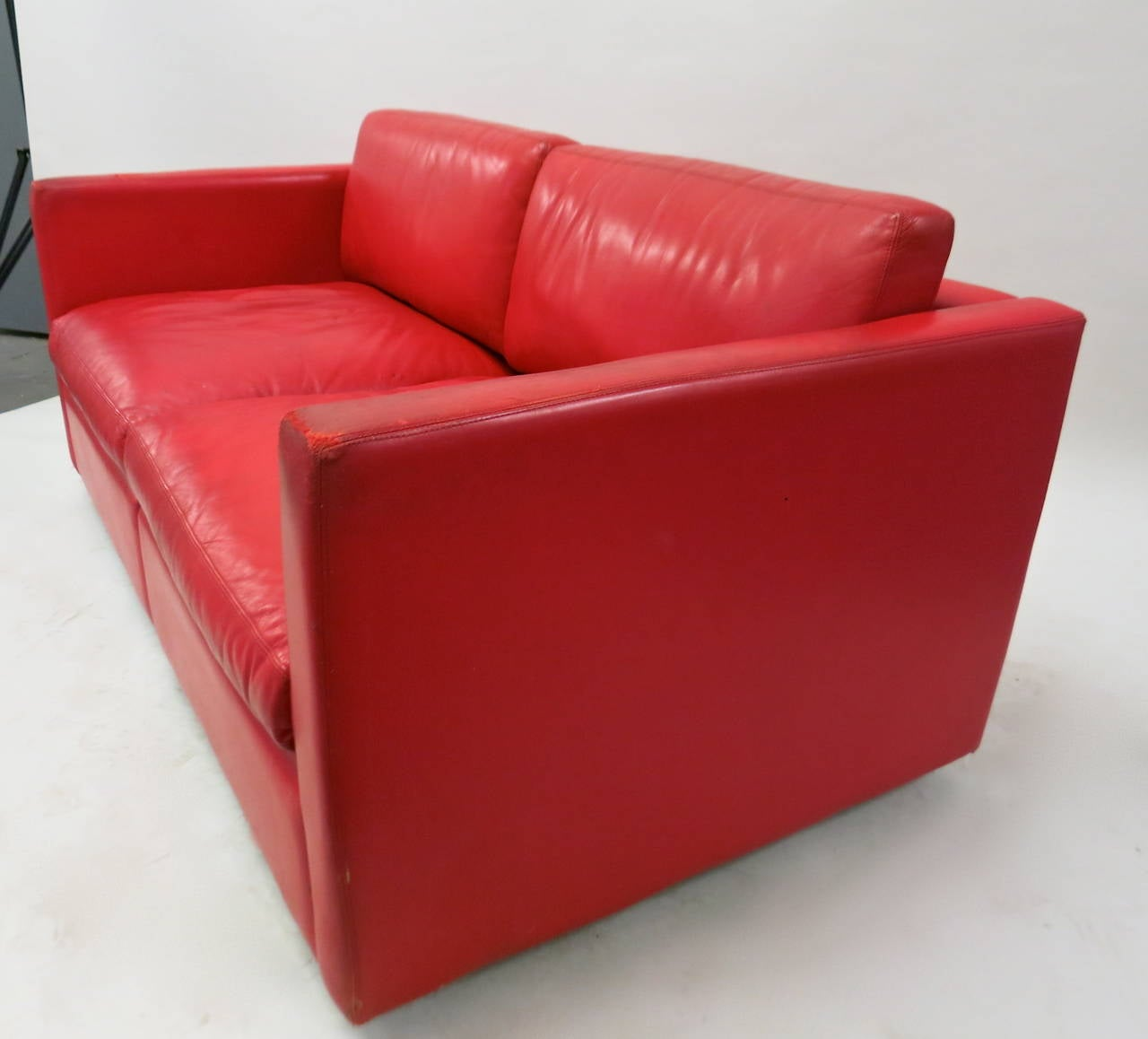 leather two seater sofa circa 1970 made in usa for