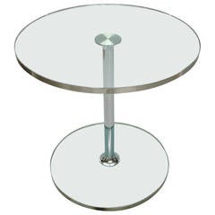 Glass Side Table Trimmed in Steel, Made in Italy circa 1970