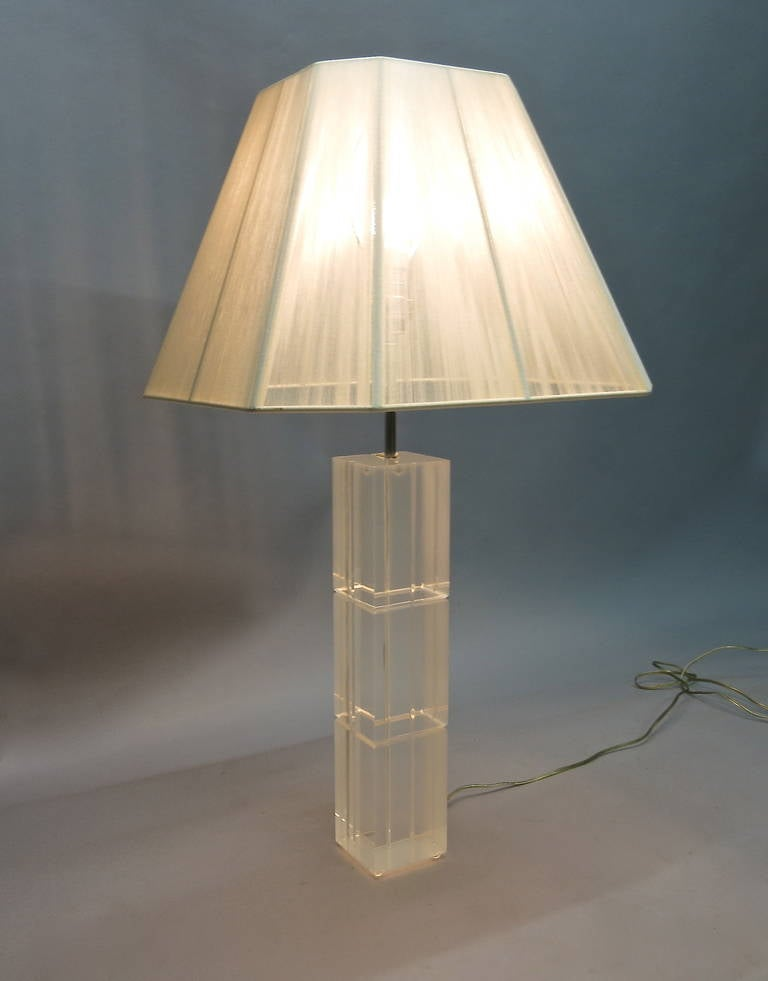 Clear Pair Of Table Lamps In Solid Lucite Made In USA