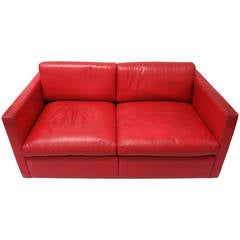 Red Leather Two Seater Sofa Circa 1970 Made in USA