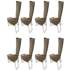 Set of Eight Dining Chairs B&B Italia circa 1980 Made in Italy