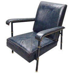Lounge Chair by Adnet in Original Leather Circa 1950 France
