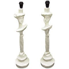 Pair of Lamps Attributted to Sirmos, Giacometti & Jean michel Frank c1990 USA