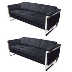 Pair Of Vintage Sofas From Pace Collection Circa 1970 American