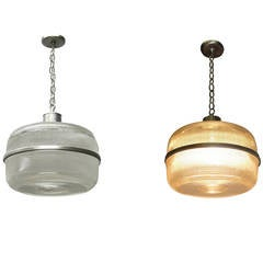 Pair of Ceiling Fixtures in Holophane Glass, circa 1940 USA