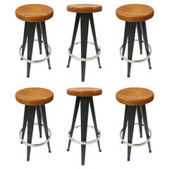 Six Bar Stools, Original Design by Jean Prouvé in 1950 France