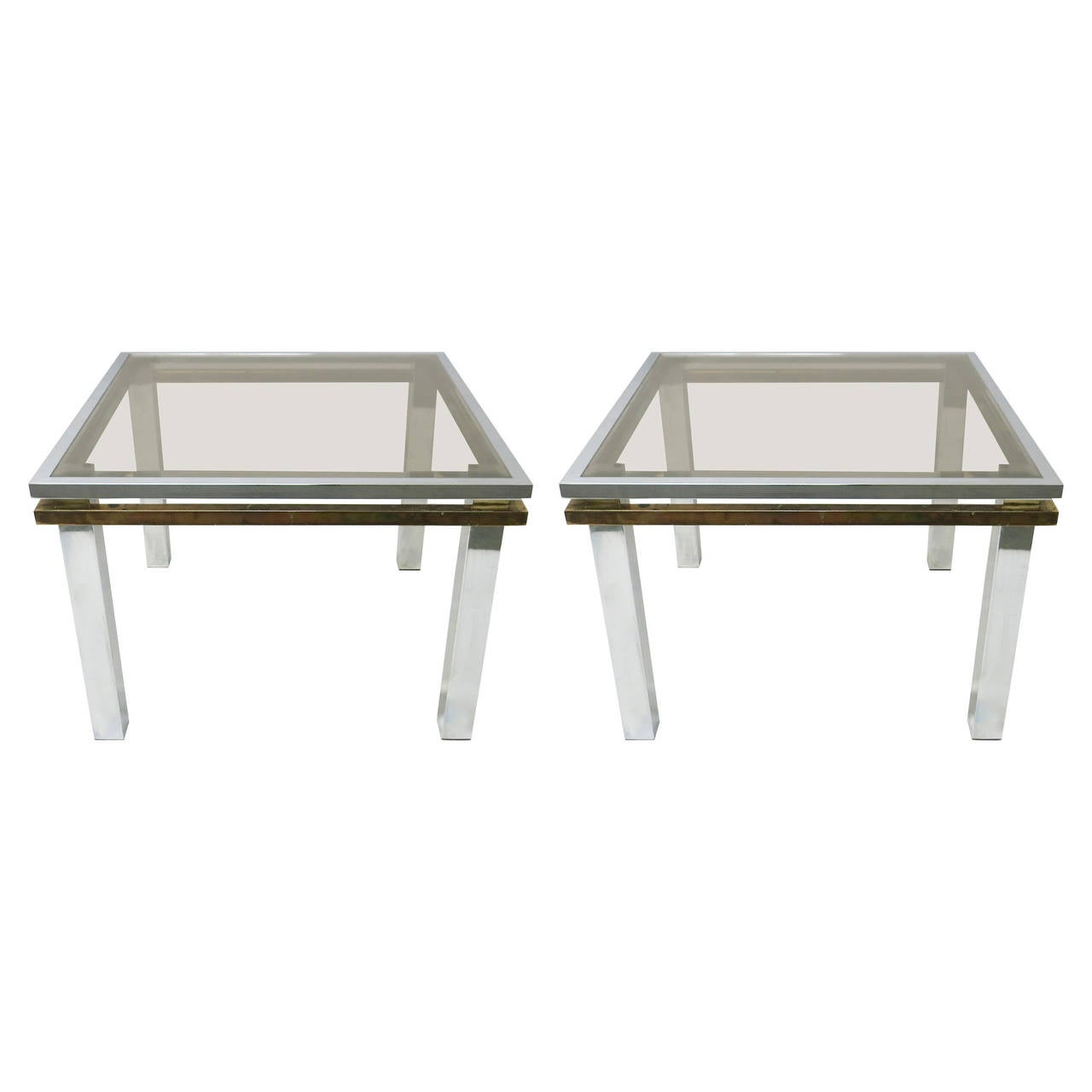 Pair of Square Side Tables in Chrome and Brass, USA C. 1970