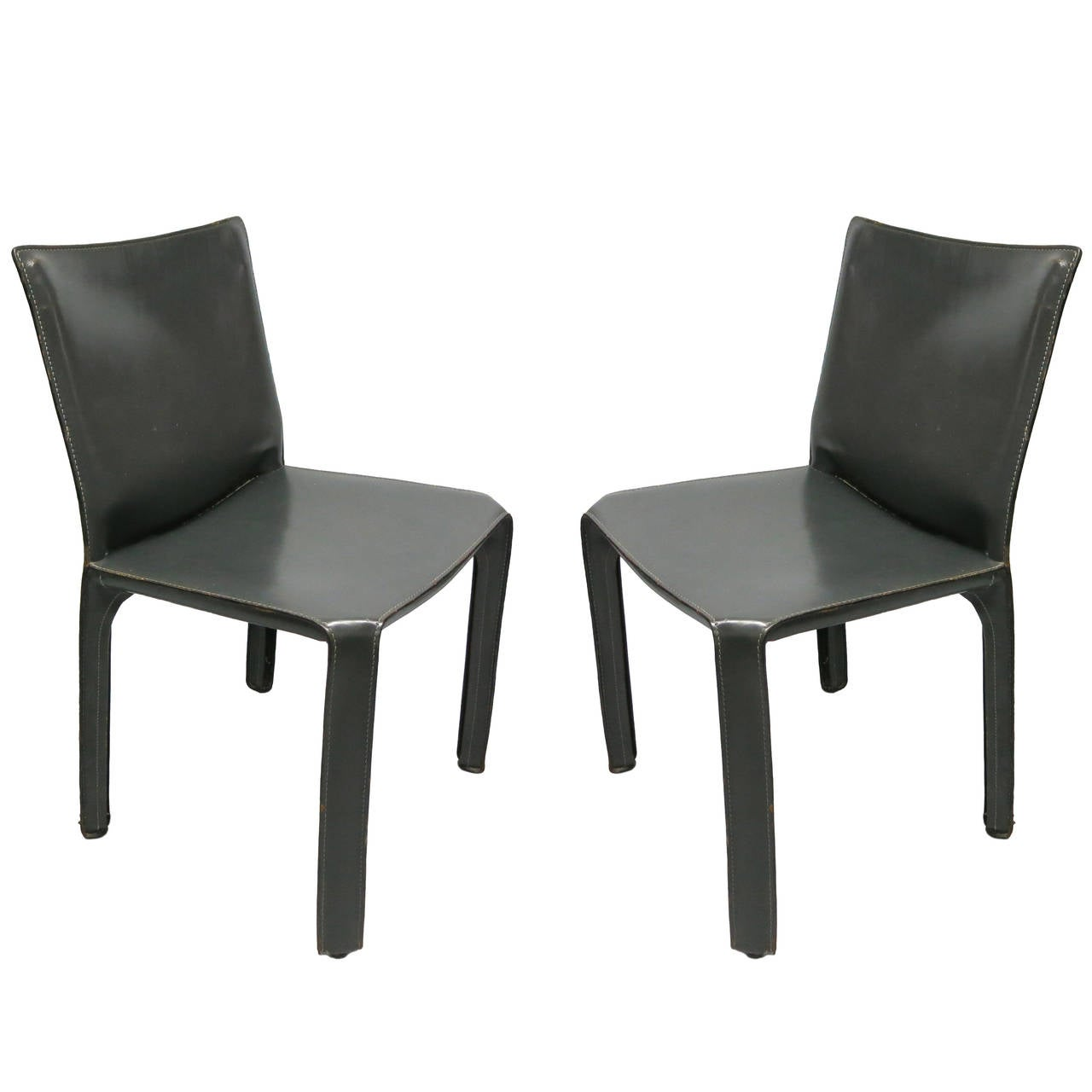 Pair of 412 armless cab chairs by mario bellini for for Cassina italy