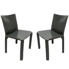 Pair of 412 Armless Cab Chairs by Mario Bellini for Cassina, Italy, 1977