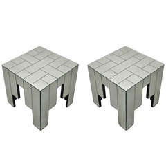 Pair Of Small Tables By Jacques Grange Signed Carl Circa 1970 France