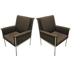 Pair of Lounge or Desk Armchairs, Circa 1950 France