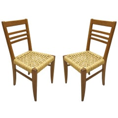 Pair of Chairs by Adrien Audoux and Frida Minet Circa 1950 France