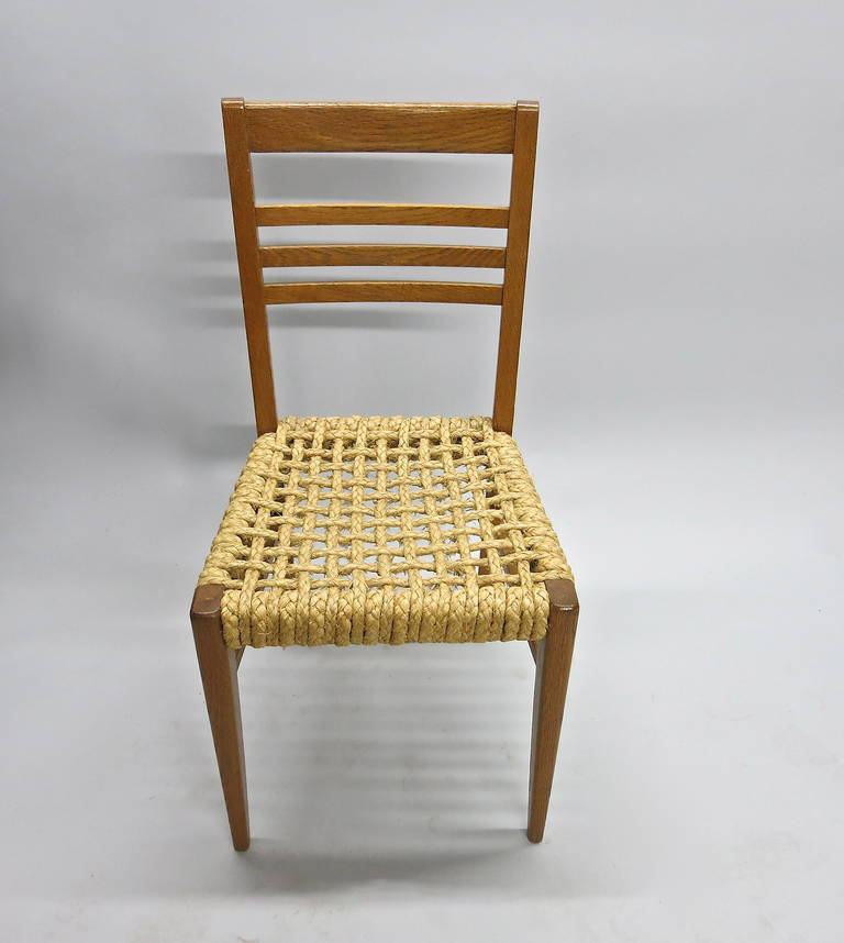 Mid-Century Modern Pair of Chairs by Adrien Audoux and Frida Minet Circa 1950 France For Sale