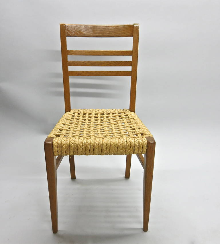 French Pair of Chairs by Adrien Audoux and Frida Minet Circa 1950 France For Sale