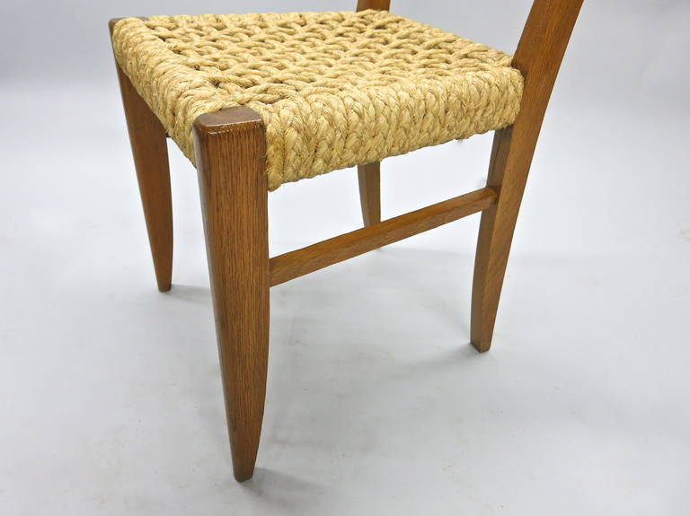 Mid-20th Century Pair of Chairs by Adrien Audoux and Frida Minet Circa 1950 France For Sale