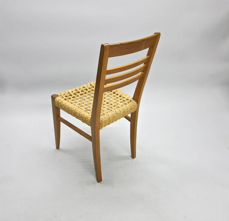 Pair of Chairs by Adrien Audoux and Frida Minet Circa 1950 France For Sale 1