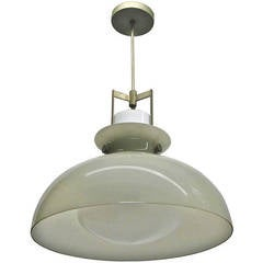 Glass Ceiling Fixture with Nickel Hardware circa 1940
