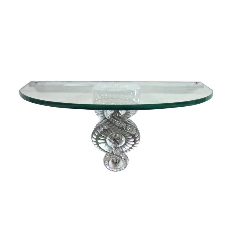 Séville Console in Clear Crystal Designed by Marc Lalique, Made in France