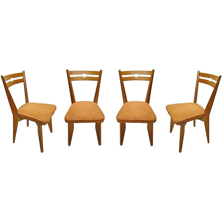 Set of Four French Dining Chairs by Guillerme et Chambron in Oak, circa 1950