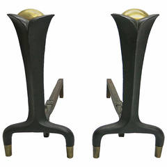 Pair of Andirons in the style of Donald Deskey for Bennett, circa 1945