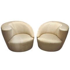 Pair of Vintage Nautilus Swivel Chairs by V. Kagan Newly Upholstered C. 1980