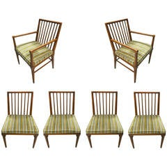 Set of Six Dining Chairs by John Widdicomb, circa 1950, Made in USA