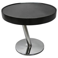 Round Side Table with a Black Glass Top Circa 1965 Made in Italy