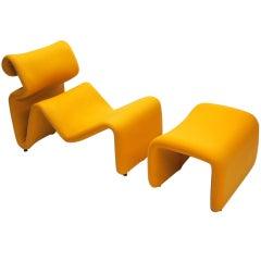 "Lounge Chair & Ottoman ""ETCETERA"" Designed by Jan Ekselius Circa 1970 Sweden"