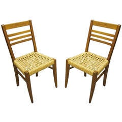 Pair of Oak Chairs by Rene Gabriel Circa 1955 France
