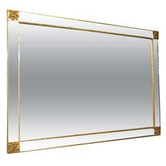 Mirror with Gilt Trim and Corner Detail Circa 1950 American