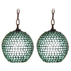 Pair of Green Beaded Pendants