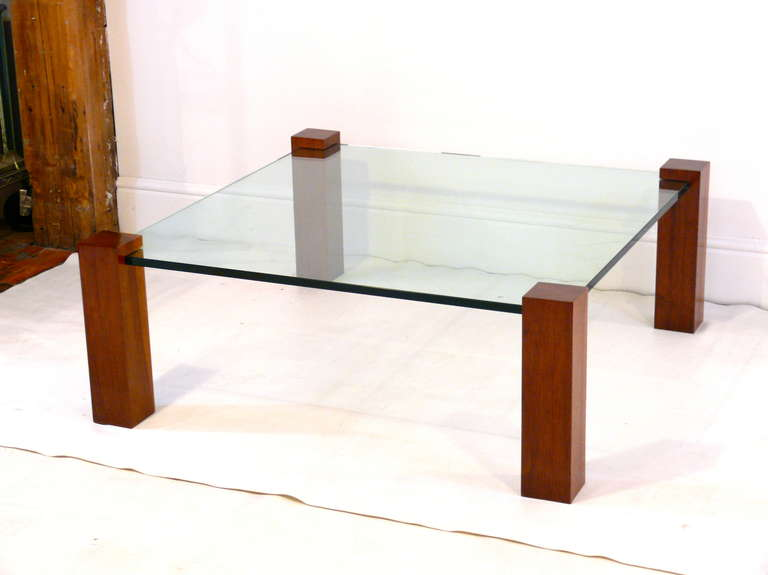 Floating Walnut And Glass Coffee Table For Sale At 1stdibs