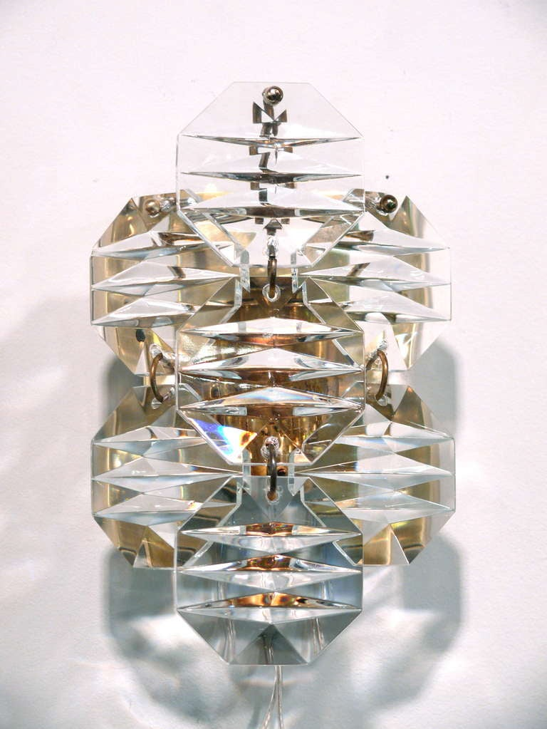Wall Sconce With Prismatic Glass : Pair of Prismatic Wall Sconces at 1stdibs