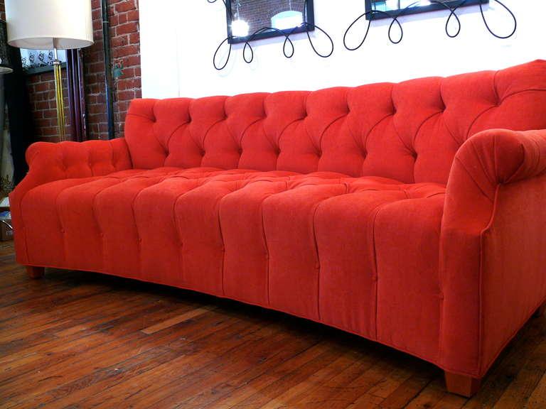 curved mid century tufted sofa for sale at 1stdibs. Black Bedroom Furniture Sets. Home Design Ideas