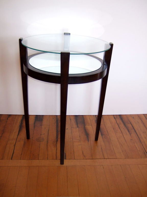 Pair of chocolate tapered end tables at stdibs