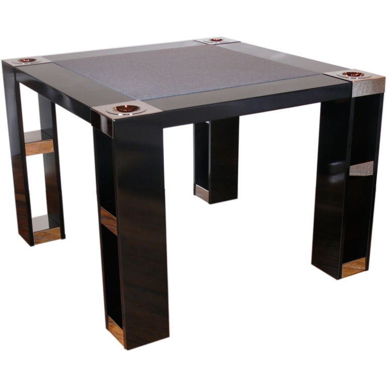 On Hold Lacquer And Nickel Game Table At 1stdibs
