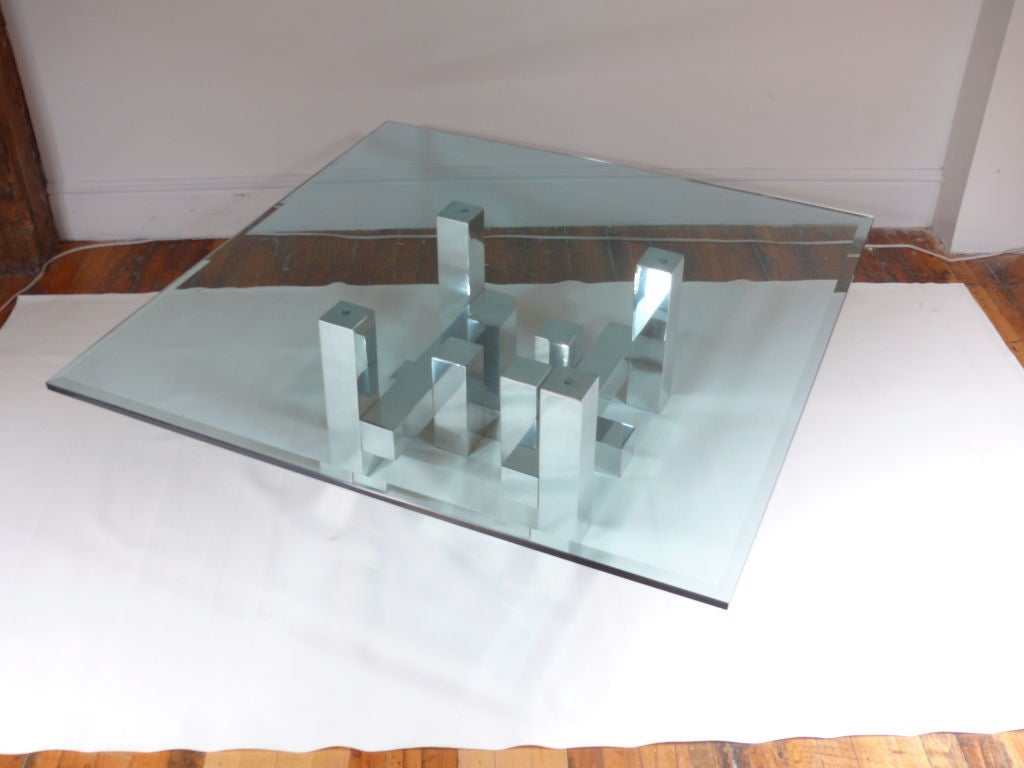 Evans style geometric coffee table at 1stdibs for Geometric coffee table