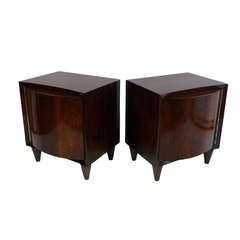 Pair of Modernage Bow-Front End Tables