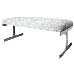 Flatbar Chrome Milo Baughman Upholstered Bench