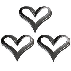 Set of Three Metal Heart Wall Sculptures