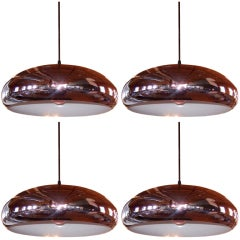 Set of Four Perforated Chrome Pendants