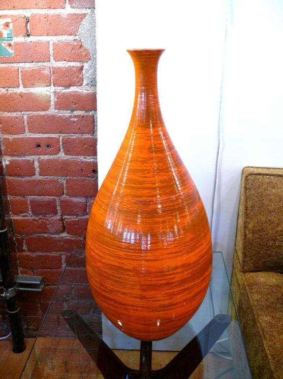 Tall Orange Ceramic Vase 2