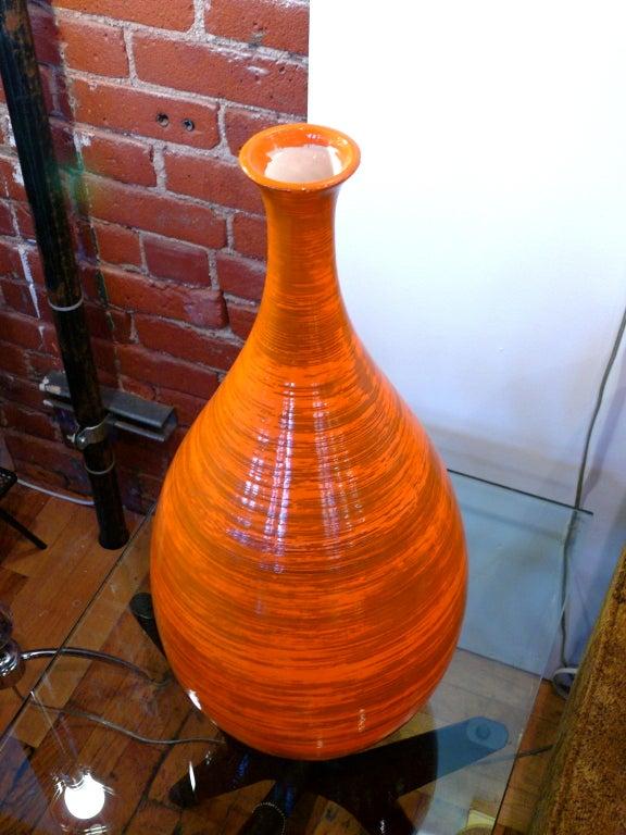 Tall Orange Ceramic Vase 3