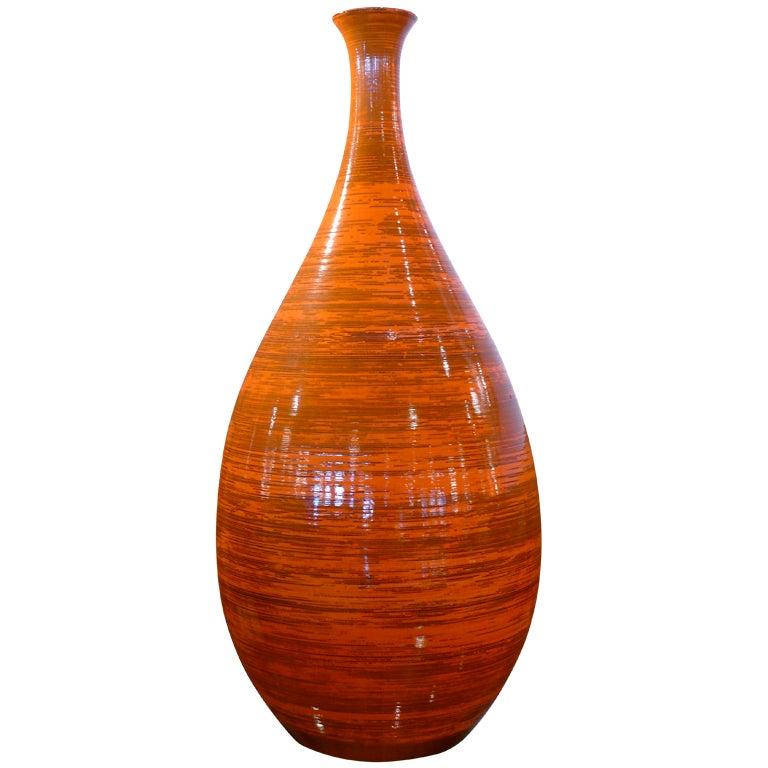 Tall Orange Ceramic Vase 1