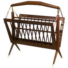 Italian Wood and Brass Magazine Rack