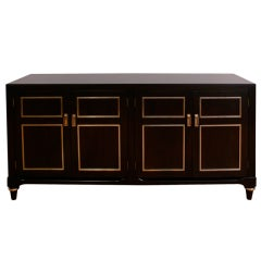 Ebonized Inlaid Brass Credenza