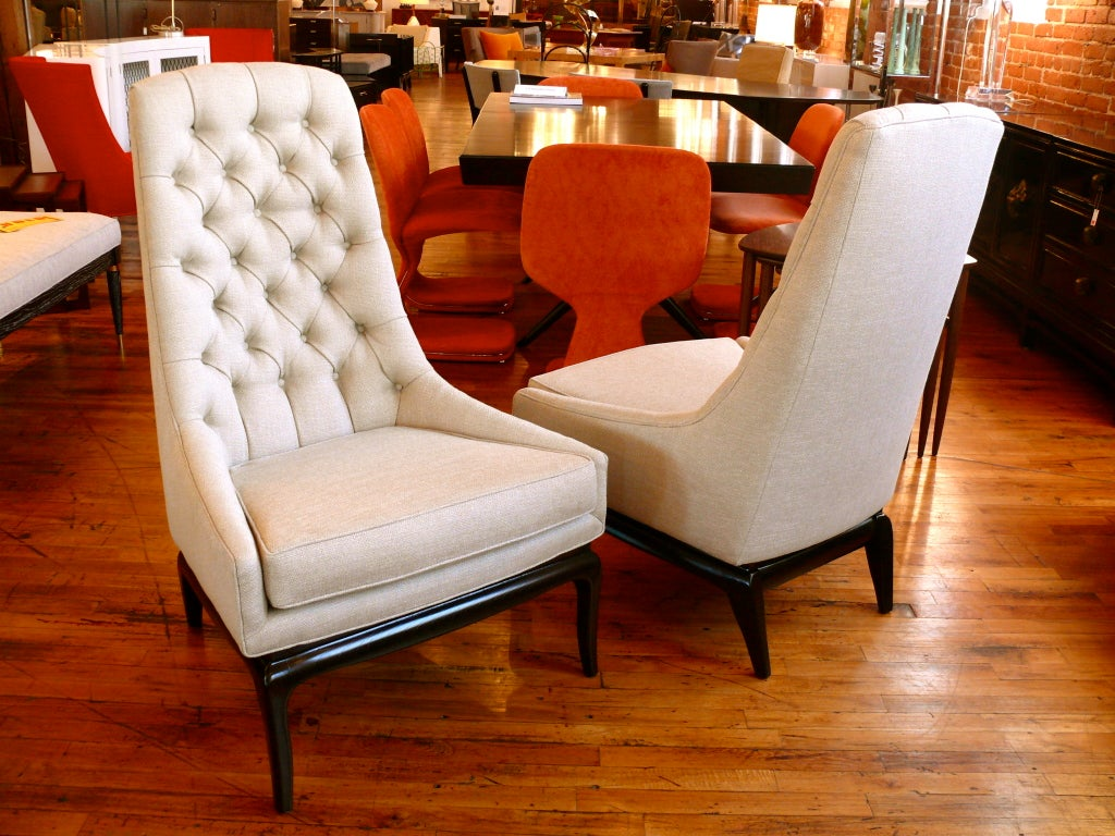 Pair of TH Robsjohn Gibbings Style High Back Diamond Chairs image 10