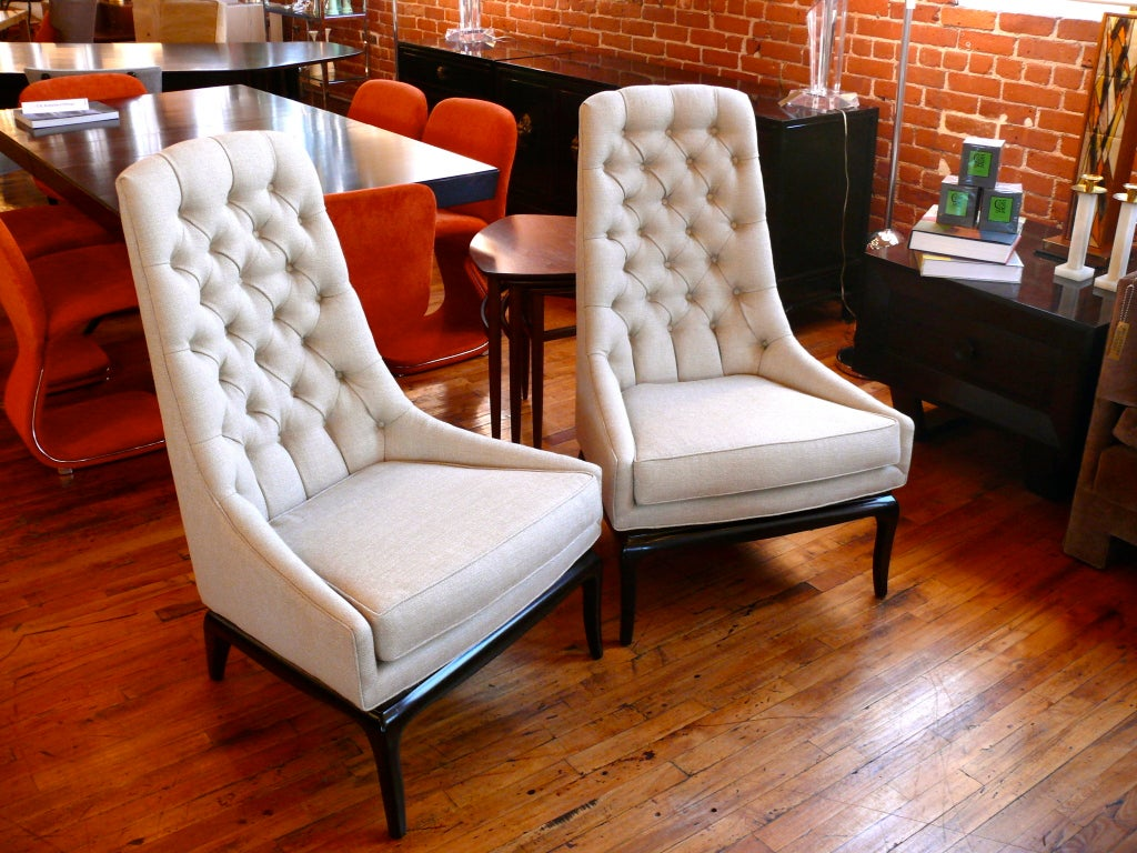 Pair of TH Robsjohn Gibbings Style High Back Diamond Chairs image 2