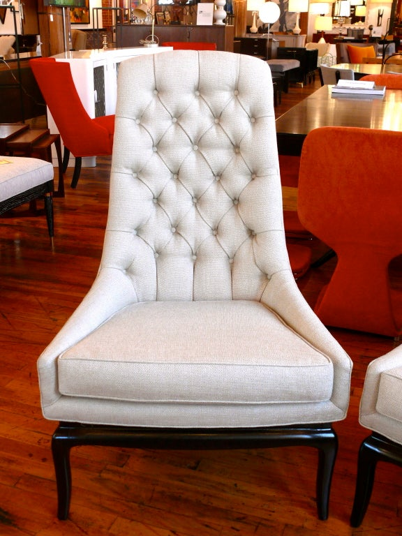 Pair of TH Robsjohn Gibbings Style High Back Diamond Chairs image 3
