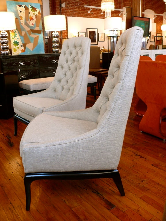 Pair of TH Robsjohn Gibbings Style High Back Diamond Chairs image 6